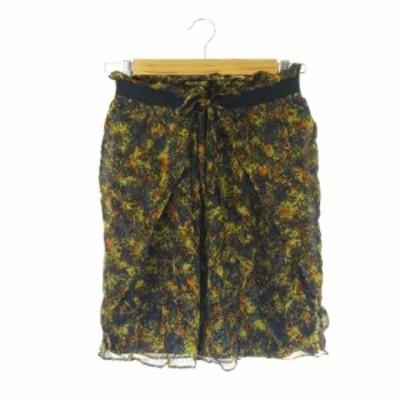 【中古】ノーリーズ Nolley's sophi スカート ギャザー ひざ丈 リボン インナー付き 総柄 シルク 絹 6 黒 ブラック