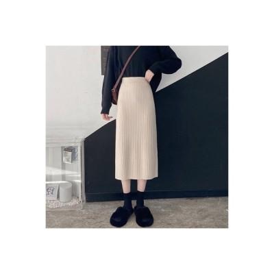 【送料無料】秋と冬 韓国風 ハイウエスト ブラックバッグヒップスカート 息子 ステップスカート 中長 | 346770_A64047-8074885