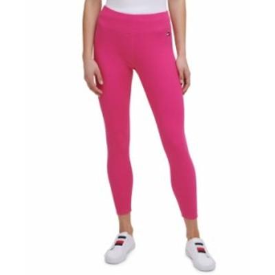 トミー ヒルフィガー レディース カジュアルパンツ ボトムス Women's Fine Rib High-Rise 7/8 Length Leggings Fuchsia Pink