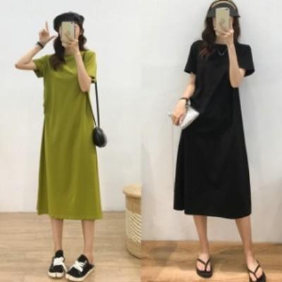 tしゃつワンピース 韓国 ファッション レディース 夏服 ワンピース シンプル 無地 半袖 カットソー ワンピース グリーン ブラック Tシ