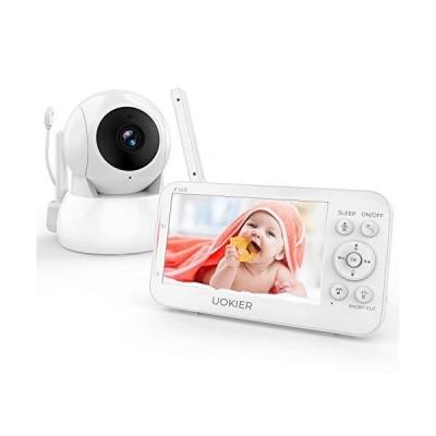 """(新品) Baby Monitor, UOKIER 5"""" Video Baby Monitor with Camera and Audio, 1080P HD Baby Camera, 5200 mAh Battery, 1000ft Range, 2-Way A"""