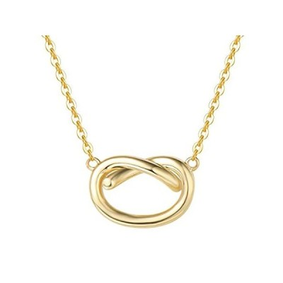 FANCIME Valentines Day Gifts Solid 14K Gold Necklace Love Knot Necklace Tie