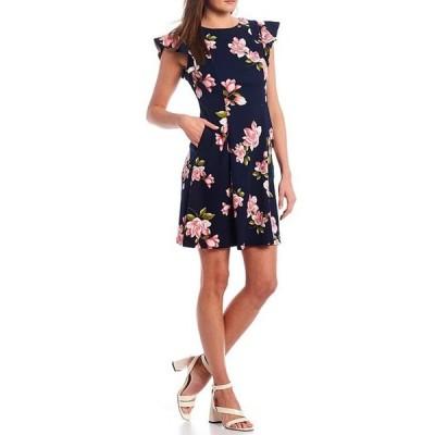 ジェシカハワード レディース ワンピース トップス Flutter Cap Sleeve Floral Crepe A-Line Dress