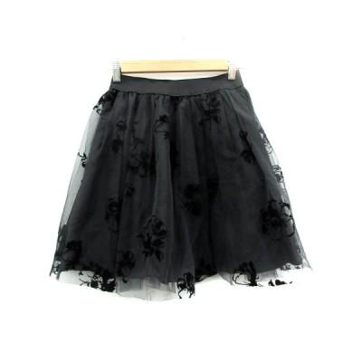 【中古】トランテアン ソン ドゥ モード 31 Sons de mode スカート チュール フレア ミニ丈 花柄 36 黒 ブラック /SM12 レディース 【ベクトル 古着】