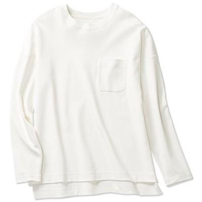 クルーネックTシャツ(長袖)(綿100%・洗濯機OK)/オフホワイト/M