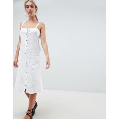 エイソス レディース ワンピース トップス ASOS DESIGN midi beach dress in linen with tortoiseshell buttons White