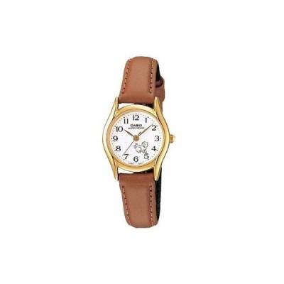 腕時計 カシオ Casio レディース ブラウン レザー ストラップ 腕時計 ホワイト ダイヤル キャット LTP1094Q-7B7