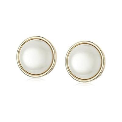 """【イチオシ厳選】[アン・クライン]Anne Klein """"Roundabout"""" Gold-Tone and Pearl Round Button Clip Earr"""