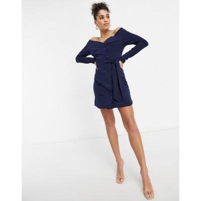 クラブエル ロンドン Club L London レディース ワンピース ワンピース・ドレス Club L Bardot Tailored Tux Dress In Navy ネイビー
