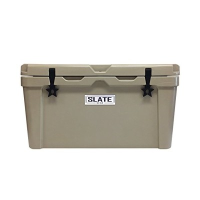 Slate Gear Roto-Molded YETI, RTIC Style Cooler. Heavy Duty, Fishing and Camping Ice Chest.  75 Quart (Tan)