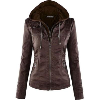 秋と冬 レディーファッションレザージャケット フードパーツは着脱可能 長袖チャック付け S-3XL(s2012250665)