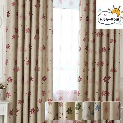 カーテン 2枚セット 1枚 ドレープカーテン 花柄 オーダーカーテ 北欧 パープル ヨーロッパ 送料無料 幅60〜100cm丈60〜100cm