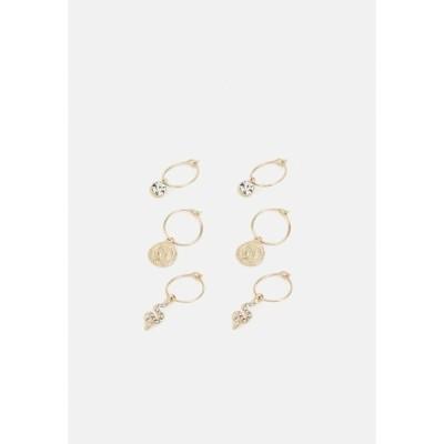 リバーアイランド ピアス&イヤリング レディース アクセサリー WIRE HOOPS 3 PACK - Earrings - gold-coloured