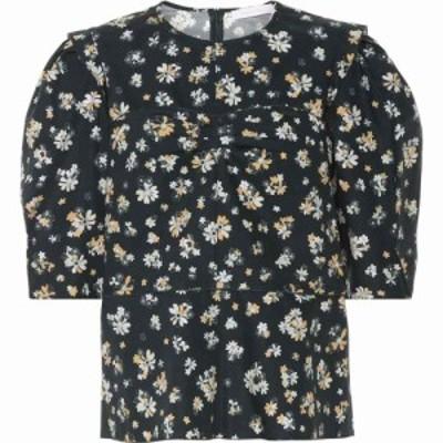 クロエ See By Chloe レディース ブラウス・シャツ トップス Floral cotton blouse Multicolor Green 1