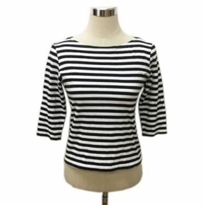 【中古】マリメッコ カットソー Tシャツ プルオーバー ボートネック ボーダー 七分袖 白 黒 ホワイト ブラック