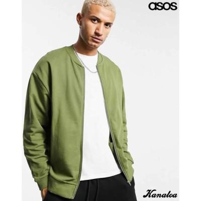 asos エイソス ボンバージャケット オーバーサイズ MA-1 フライトジャケット グリーン 大きいサイズあり