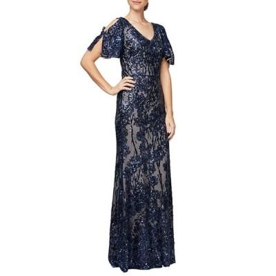 アレックスイブニングス レディース ワンピース トップス Sequin A-Line Flutter Cold Shoulder Sleeve Long Gown