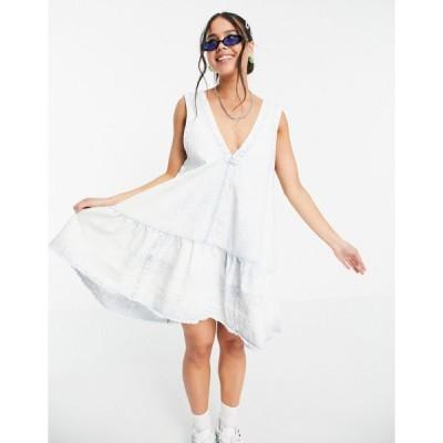 フリーピープル ミニドレス レディース Free People sunspray mini smock dress in bleached denim エイソス ASOS