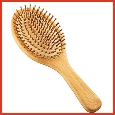Sabado ヘアブラシ-もつれピン付き木製竹ヘアブラシ、環境に優しいパドルブラシコーム、女性、男性、子供向け-
