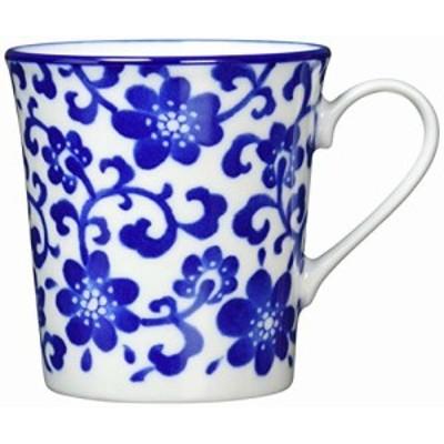 イチキュウ 美濃焼 軽量 マグカップ ブルーフラワー ホワイト 9cm 126-1657