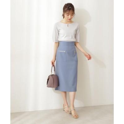 |美人百花 6月号掲載|サイドポケットタイトスカート ブルー