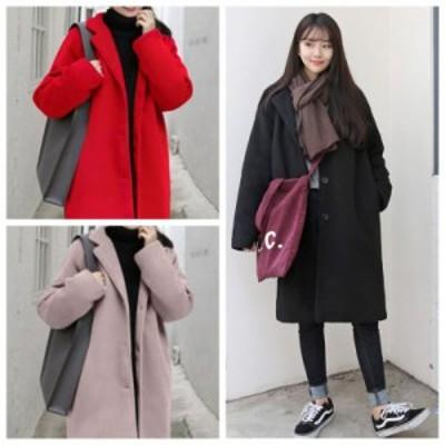 チェスターコート レディース アウター コート ロングコート ウール 小さいサイズ 大きいサイズ 無地 長袖 カジュアル 韓国服