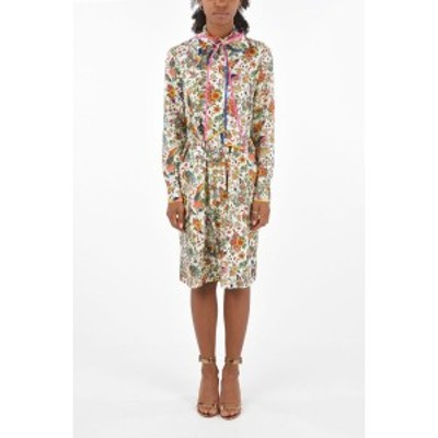 TORY BURCH/トリー バーチ Multicolor レディース floral-print silk knee lenght shirtdress with tie neck dk