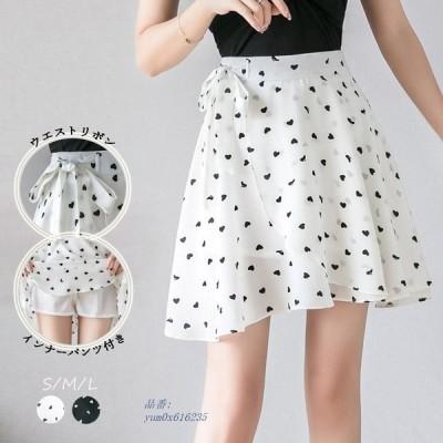 ミニスカート レデイース フレアスカート ファスナー付き ネコポス可 シフォン 可愛い リボン インナーパンツ付き