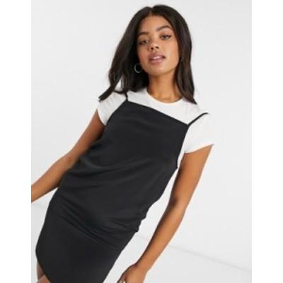 エイソス レディース ワンピース トップス ASOS DESIGN square neck mini slip dress in black Black