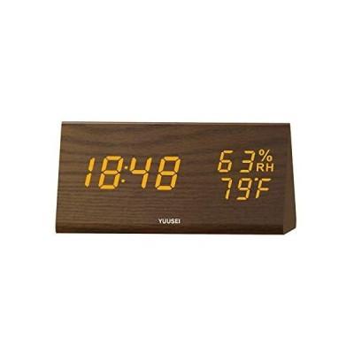 YUUSEI 木製デジタル目覚し時計 大音量 湿度計/温度計 三段明るさ調整可能 音声感知/省エネ時計 USB/乾電池給電式
