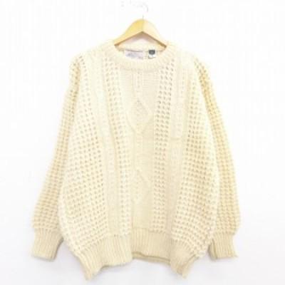 古着 長袖 ケーブル セーター 無地 ウール クルーネック アイルランド製 生成り Lサイズ 中古 メンズ ニット トップス セーター ニット