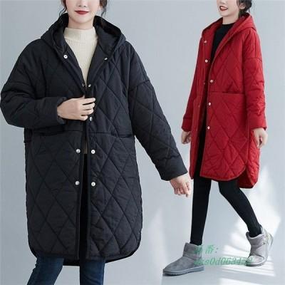 アウター レディース キルティングアウター キルティングコート キルティング 暖かい ロング ゆったり 大きいサイズ コート カジュアル 軽い 防寒 長袖