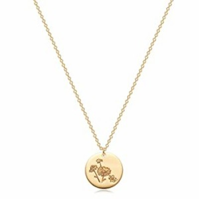 Fettero Coin Necklace for Women Gold Birth Month April Daisy Flower Disc Round Medal Pendant Engraved Floral 14K Gold Plated Min