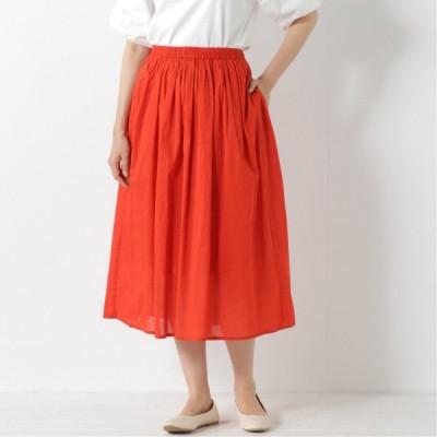 ギャザースカート レッド M L