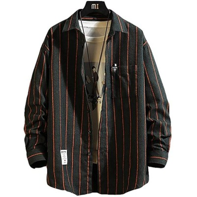 メリュエル 2カラー M〜2XL 春秋 ストライプ シャツジャケット カジュアル ゆったり お洒落 羽織 男性用(チャコール, 2XL)