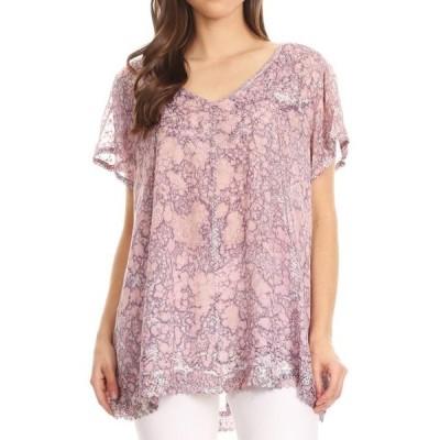 ユニセックス 衣類 トップス Sakkas Charolette Embroidery And Seqiun Accents Blouse - Violet - One Size ブラウス&シャツ