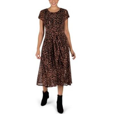 ロビービー レディース ワンピース トップス Printed Tie-Front Midi Dress Black/Brown