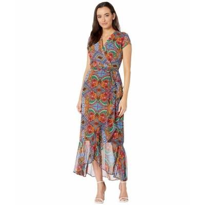 テイラー ワンピース トップス レディース All Over Floral Print Surplice Wrap Front Maxi Chiffon Dress Ginger