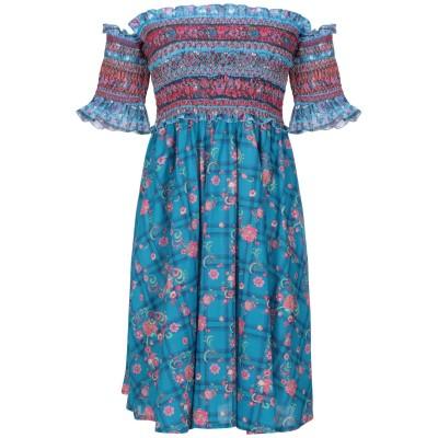 アンジュナ ANJUNA ミニワンピース&ドレス ターコイズブルー XS コットン 100% ミニワンピース&ドレス