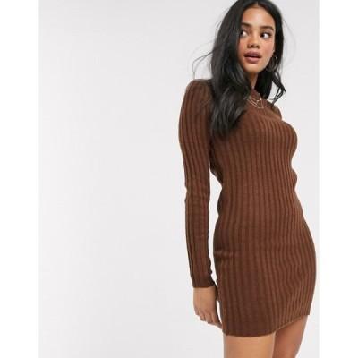 ブレーブソウル レディース ワンピース トップス Brave Soul mando sweater dress in brown