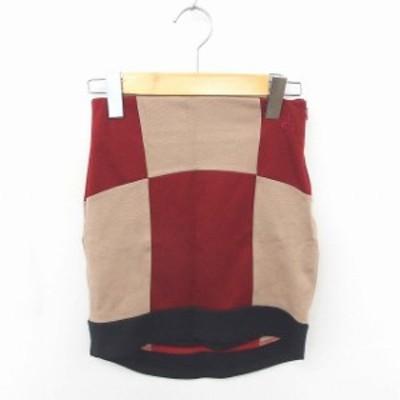 【中古】未使用品 ロエン Roen タグ付き スカート タイト ミニ ブロックチェック S 赤 薄茶 レッド ベージュ /TT13