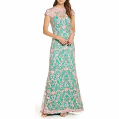 タダシショージ TADASHI SHOJI レディース パーティードレス ワンピース・ドレス Floral Lace Gown Petal/Jade