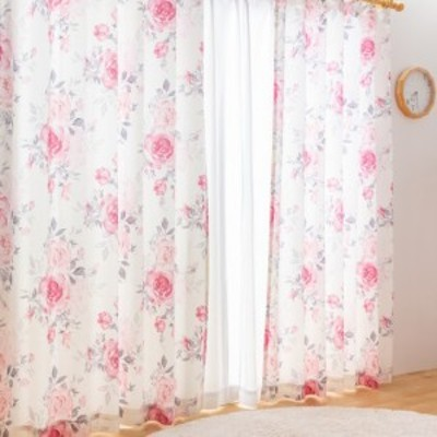 カーテン 遮光なし ドレープカーテン 形状記憶付き シャビー 花柄 フラワー ラメ 幅100~200 丈90~230 国産 40サイズ展開(代引不可)【送料