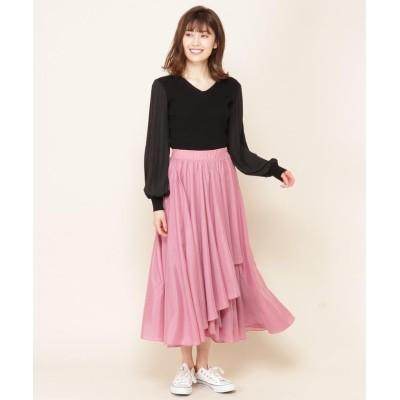 【アンドクチュール】 ラメ楊柳チュールフレアスカート レディース ピンク M And Couture