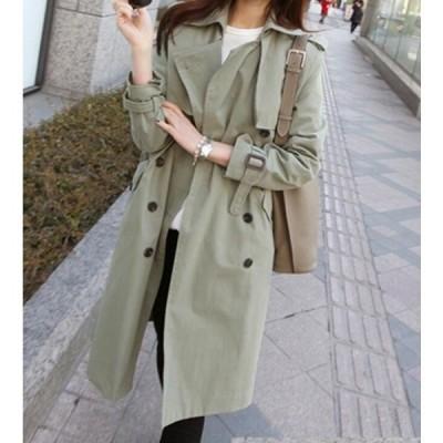 韓国風春秋冬ダブルーボタントレンチコートジャケットふんわり通勤オフィス薄手ウインドブレーカーチェスターコート卸売り販売