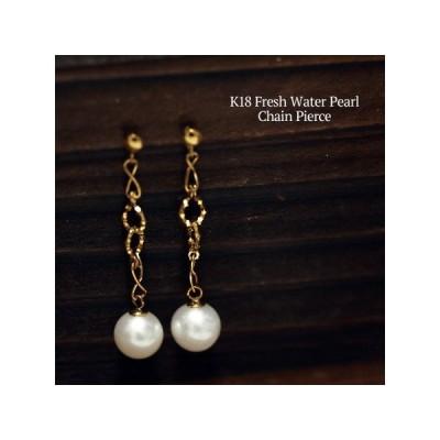K18 淡水真珠 チェーン ピアス  揺れる ぶら下がり 18金 パール 個性的 レディース