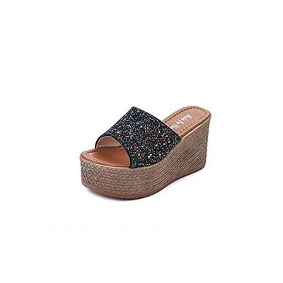 [RSWHYY] スリッパ サンダル レディース 夏 キラキラ スパンコール 厚底 ハイヒール ヒール9cm ウエッジソール 靴 ブラック 22.5c