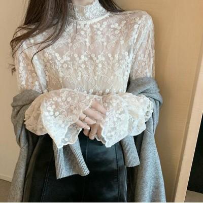 韓国ファッション ビジネス カジュアル 新作/Tシャツツ ブラウス 長袖 レースレースレディース フリル ホワイト 大きいサイズ スタンドカラー かわいい