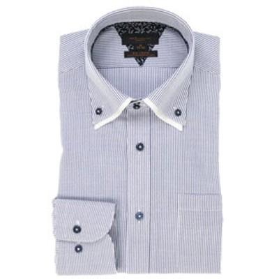 形態安定スリムフィットドゥエボットーニボタンダウン2枚衿長袖ビジネスドレスシャツ