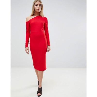 エイソス ASOS DESIGN レディース ワンピース ワンピース・ドレス midi dress with sweeping neckline Red